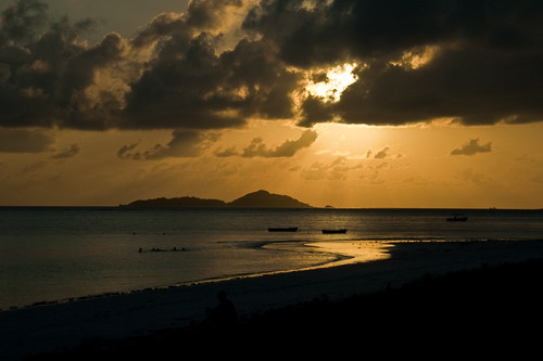 Sunset at Praslin, in the Seychelles.