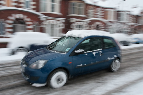 Speeding Snow Car