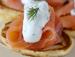meal(0.0), prosciutto(0.0), salmon(1.0), breakfast(1.0), fish(1.0), lox(1.0), food(1.0), dish(1.0), cuisine(1.0), smoked salmon(1.0),