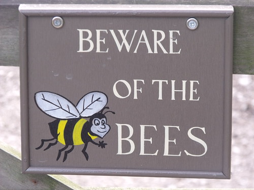 The Ferrers-Walker Memorial Kitchen Garden - Beware of the Bees - sign