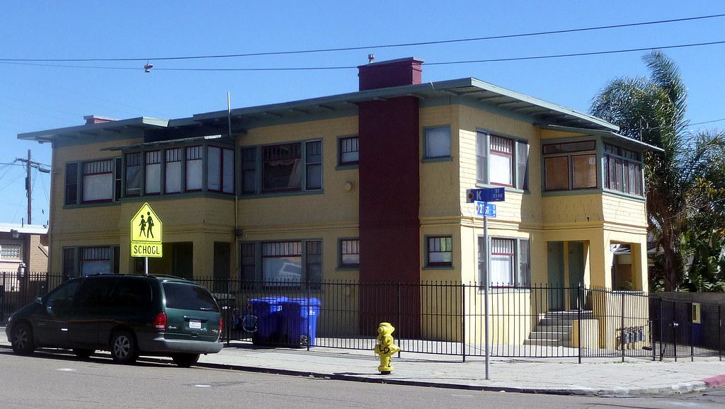 Very cool prairie school esque apartment building sherman - Apartment buildings san diego ...