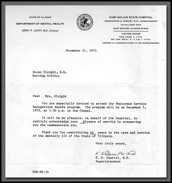 Susan Sleight 20 Year Service Letter 1972