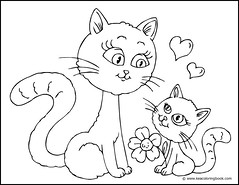 Kitten and Mother Cat - Coloring Page