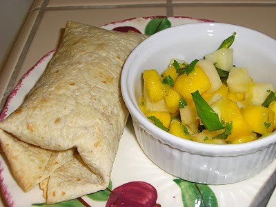 Oven-Baked Chimichangas and Mango-Jicama Salad