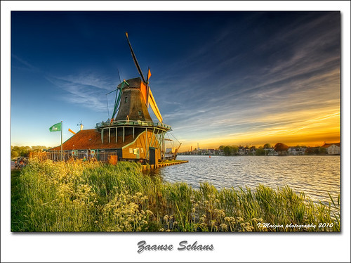 blue sunset sky holland windmill yellow golden nikon bravo thenetherlands molino iván hdr zaanseschans nikond200 artistictouch ivánmaigua
