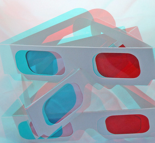 3 3D Anaglyph red cyan glasses in anaglyph 3D