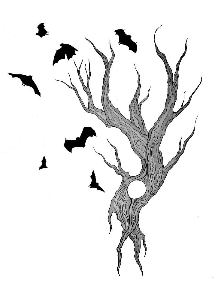 Black And White Tree Tattoo Designs Tree And Bats Tattoo Design