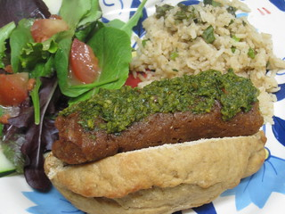 Chimichurri Independence Day Wieners on a Little Baguette with Cilantro-Lime Rice