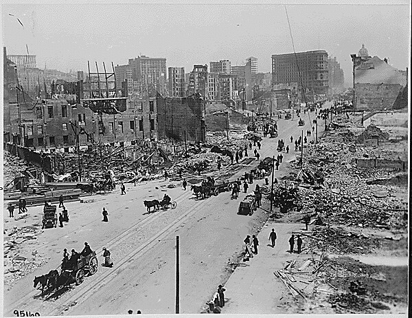 San Francisco Earthquake of 1906: Market Street, west of Powell and Fifth Streets, showing area east of Taylor and Powell Streets. This is the main part of the retail district of San Francisco, ca. 1906.