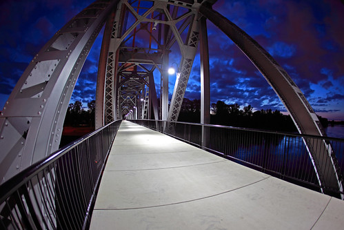 street railroad bridge blue color up bicycle night clouds oregon digital canon river lens ian photography eos photo downtown view meetup mark union group pedestrian architectural fisheye ii hour 5d shooting salem meet willamette sane a