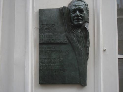 Gabriel Garcia Marquez plaque, Paris