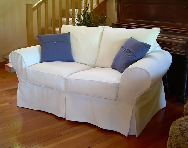 White cotton loveseat slipcover