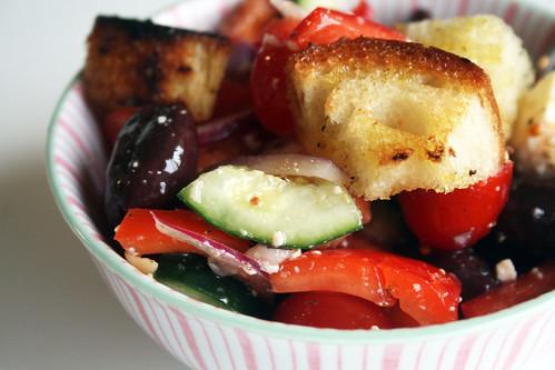 Alisaburke greek panzanella salad Barefoot contessa panzanella
