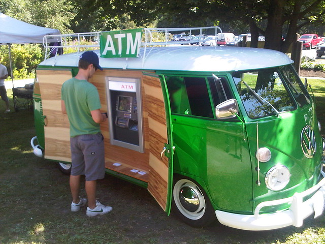 The raddest ATM bank machine that you have ever seen at our slo-pitch tournament