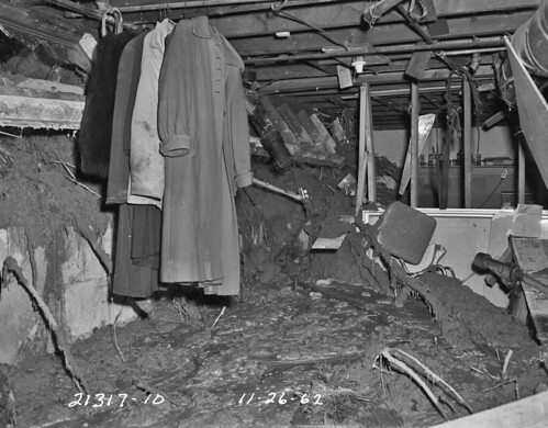 Landslide damage in basement, 1962