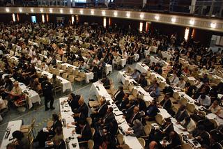 Delegates gathering in the main  plenary