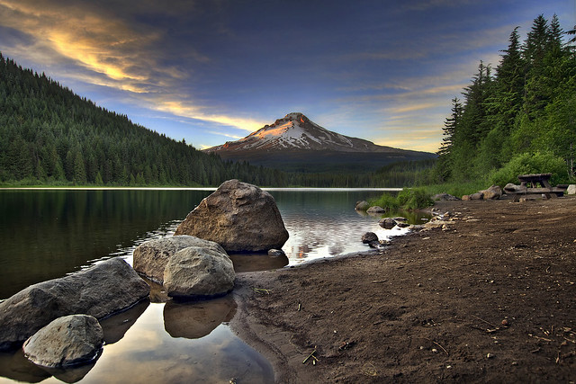 Sunset at Trillium Lake with Mount Hood 3 - HDR