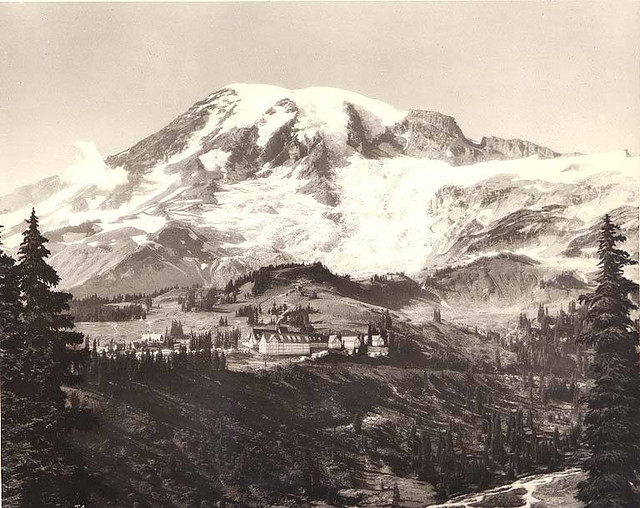 Panoramic view of Paradise Inn, Mount Rainier National Park, Washington
