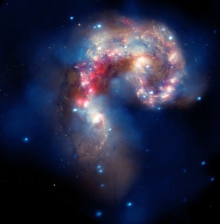 Large Image: Galaxies Collide in the Antennae Galaxies (NASA, Chandra, Hubble, Spitzer, 08/05/10)  [Explored]