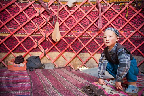 Inside a yurt - Central Asia