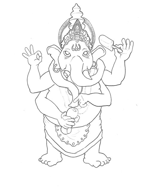 Ganesh Line Drawing : Ganesh line drawing flickr photo sharing
