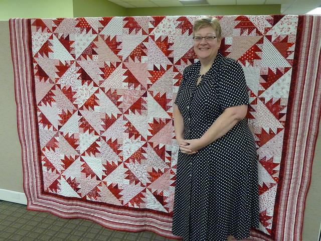 Cornelia with her anniversary quilt