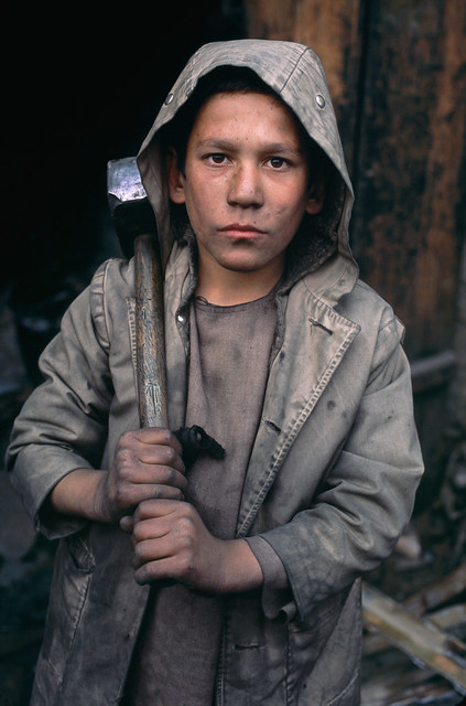 Boy-miner Charikar, Afghanistan, 2002, by Steve McCurry