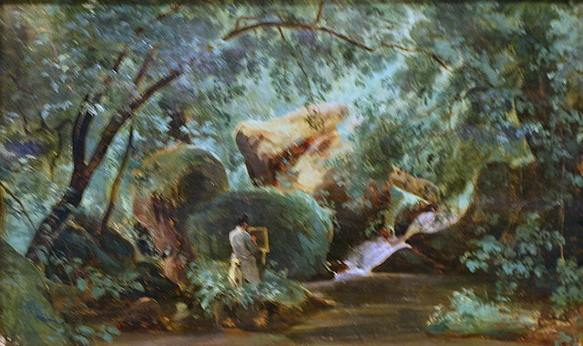 Forest Interior with a Painter, Civita Castellana by André Giroux
