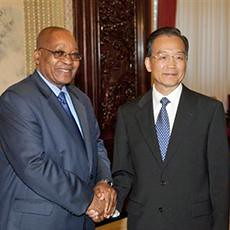 South African President Jacob Zuma and People's Republic of China Premeir during an August 2010 visit to Beijing. The two states signed numerous economic cooperation agreements. by Pan-African News Wire File Photos