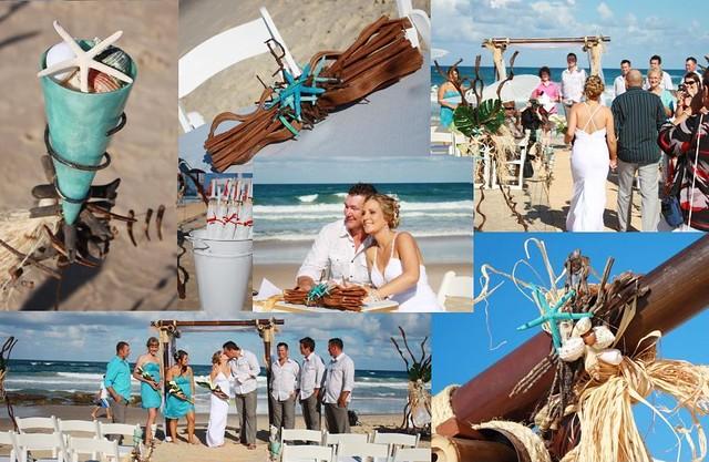 Beach wedding collage