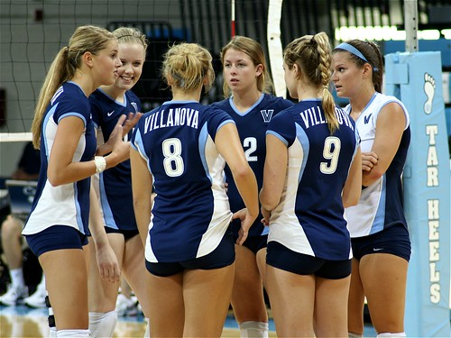 Villanova Wildcats volleyball team confers during a timeout