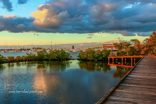 bridge clouds cloudy view boardwalk evening water river stllucieriver southfork shepardspark stuart florida usalandscape seascape weather