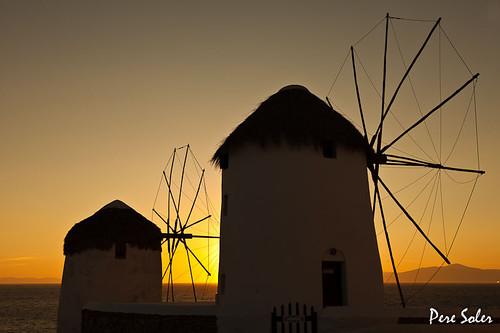 sunset sea atardecer grecia mills cyclades mykonos molinos posta moulins mühlen maregeo ελαιοτριβεία