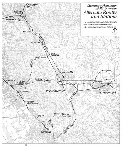 Livermore-Pleasanton BART Extension: Alternate Routes and Stations (1976)