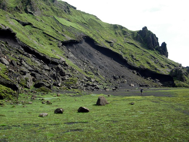 Landslide - lava slab slide over unconsolidated deposits below