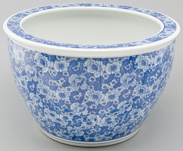 Ms1011y blue whte chinese fish bowl planter porcelain for Chinese fish bowl planter