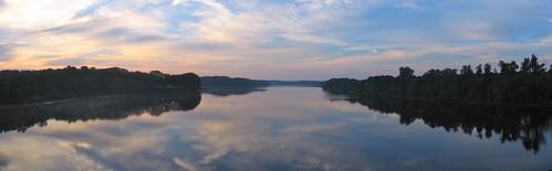trees sky panorama reflection water clouds sunrise pano maine brunswick panoramic topsham androscogginriver