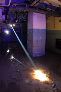 Cutting through concrete using laser beams. Abandoned and flooded building #4 at Sycamore Canyon Test Facility