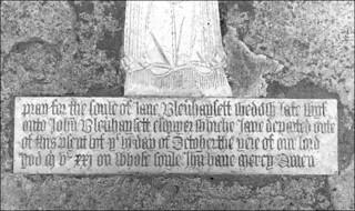 prayy for the soule of Jane Blenhaysett