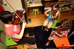 impromptu violin lesson for shea and rebecca
