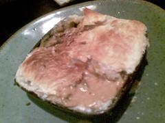 breakfast(0.0), kobe beef(0.0), meal(1.0), steak(1.0), food(1.0), dish(1.0), cuisine(1.0), animal fat(1.0),