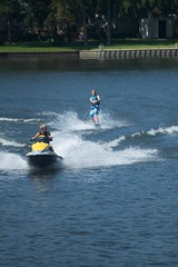 motorsport(0.0), paddle(0.0), waterskiing(1.0), wakeboarding(1.0), vehicle(1.0), sports(1.0), boating(1.0), extreme sport(1.0), water sport(1.0), jet ski(1.0), personal water craft(1.0),