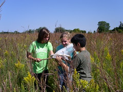 Seventh graders make an interesting discovery while studying the prairie ecosystem at DeSoto National Wildlife Refuge. USFWS Photo by Sue McDonald.