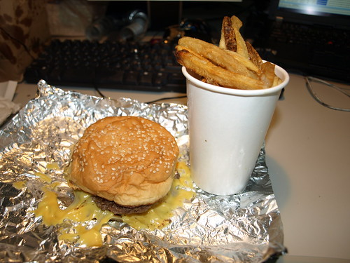 FIVE GUYS cheeseburger and fries in my cube at work