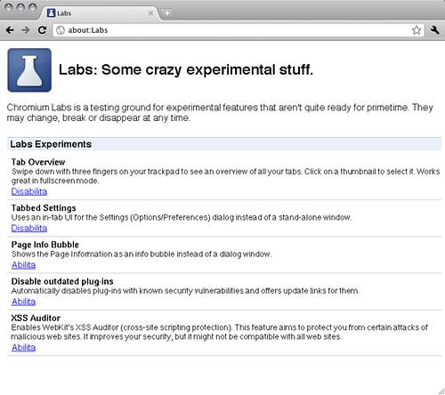 Le nuove aggiunte a about:Labs su Mac