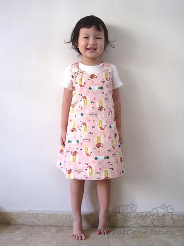 pinafore, children clothing, handmade, japanese fabric, kokka, mermaid, pink