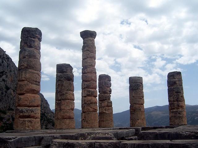 The doric columns of the Temple of Apollo, Delphi