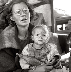 Mother and baby of family on the road, Tulelake 1939, by Dorothea Lange