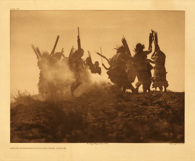 Dancing to restore an eclipsed moon - Qagyuhl, by Edward S. Curtis 1915