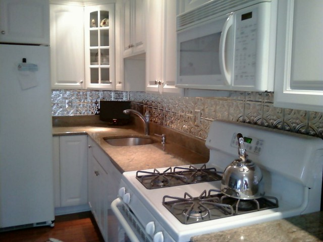 faux tin backsplash and total kitchen renovation flickr photo